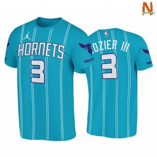 Vendite T-Shirt NBA Charlotte Hornets NO.3 Terry Rozier III Double Pinstripes Blu Icon 2020-21