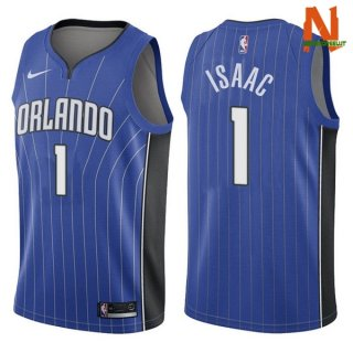 Vendite Maglia NBA Orlando Magic NO.1 Jonathan Isaac Blu Icon 2017-18